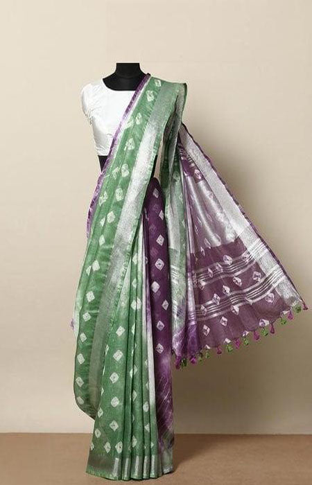 Gleaming Green and Blue Color Linen Designer Digital Print Saree LN8023