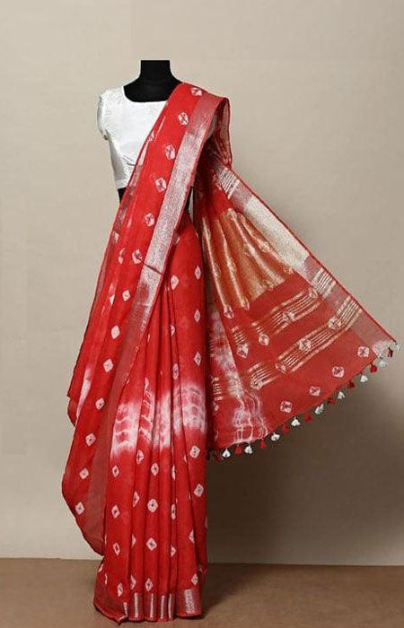 Heavy Red Color Linen Designer Digital Print Saree LN8024