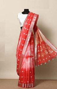 Magnificant Red Color Linen Designer Digital Print Saree LN8030