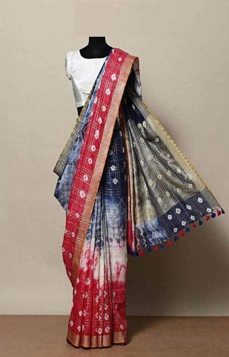 Recent Pink and Blue Color Linen Designer Digital Print Saree LN8033