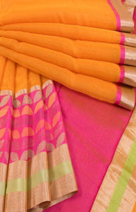 Rich Orange and Pink Color Linen Designer Digital Print Saree LN8084
