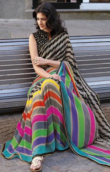 Arresting Multi Color Linen Designer Digital Print Saree LN8086