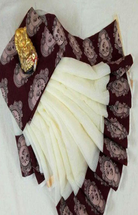 Admirable White and Brown Color Linen Designer Digital Print Saree LN8104