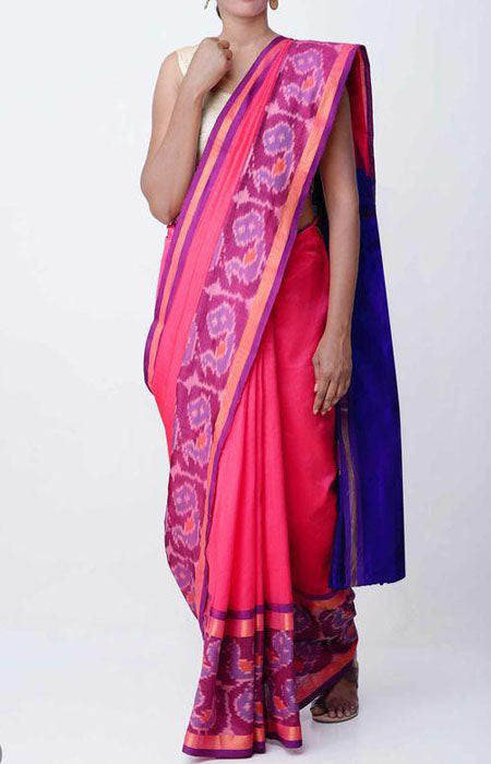 Brilliant Pink and Blue Color Linen Designer Digital Print Saree LN8107