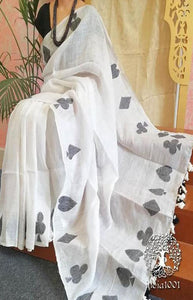 Refreshing White and Black Color Linen Designer Digital Print Saree LN8108