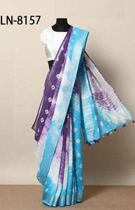 Excotic Purple and Blue Color Linen Designer Digital Print Saree LN8157
