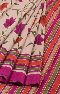 Rich Pink Color Linen Designer Digital Print Saree LN8334