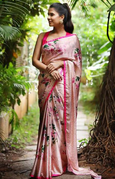 Arresting Pink Color Linen Designer Digital Print Saree LN8336