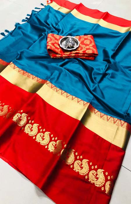 Sensational Blue and Red Color Mor Designer Cotton Silk Saree