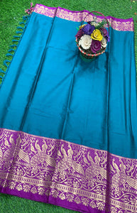 Admirable Blue and Purple Color Designer Cotton Silk with Jacquard Border saree