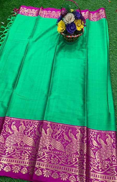 Fabulous Green and Purple Color Designer Cotton Silk with Jacquard Border saree