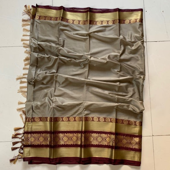 Glammrous Grey and Gold Color Cotton Silk Saree Roshani-07