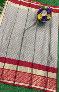 Gleaming Gray Color Designer Cotton Silk with Jacquard Border saree