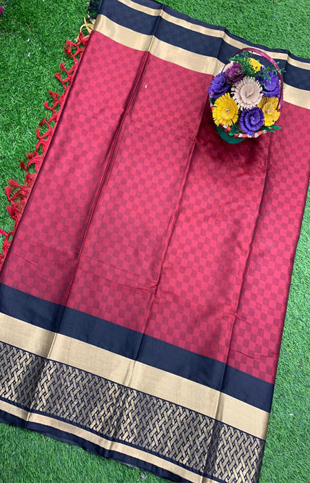 Immaculate Red Color Designer Cotton Silk with Jacquard Border saree