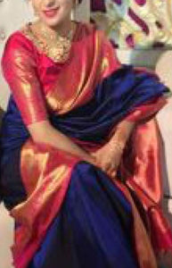 Ideal Blue And Red Color Designer Soft Silk Saree SC3108