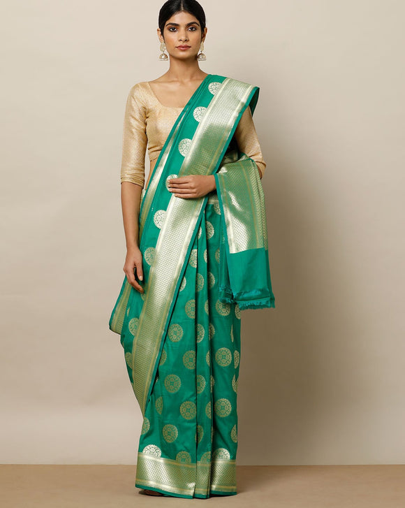 Beautiful Green and White Color Soft Silk Designer Sarees SC7036