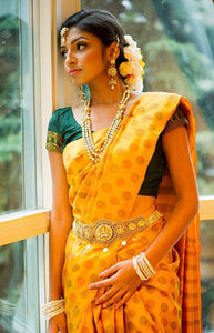 Classic Yellow Color Soft Silk Designer Saree SC9248