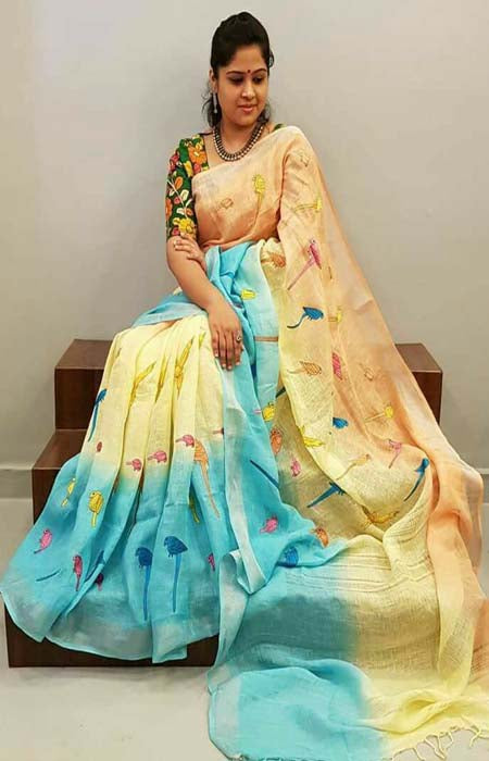 Beauteous Blue and Yellow Color Soft Silk Designer Sarees SC1202