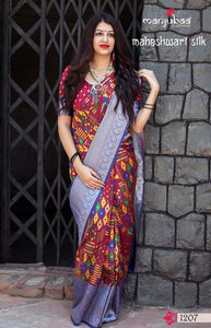 Captivating Brawn and Blue Color Soft Silk Designer Sarees SC1203