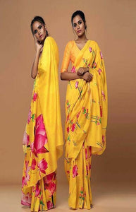 Dapper Yellow Color Soft Silk Designer Sarees SC1204