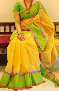 Vintage Yellow and Green Color Soft Silk Designer Sarees SC1260