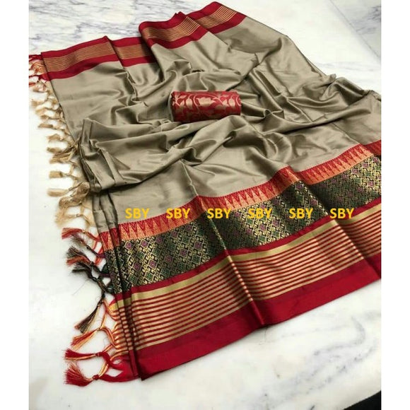Vibrant Beige And Maroon Color Designer Silk Saree