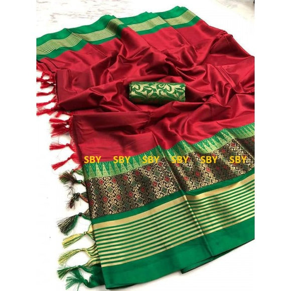 Modern Red And Green Color Designer Silk Saree