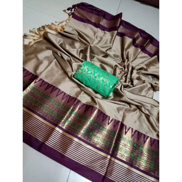 Beauteous Chocolate Color Designer Silk Saree