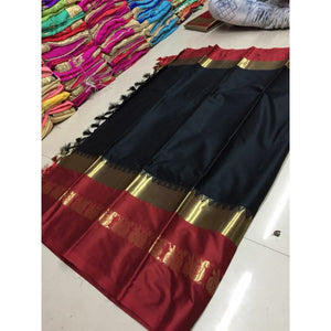 Dreamy Black And Red Color Silk Designer Saree