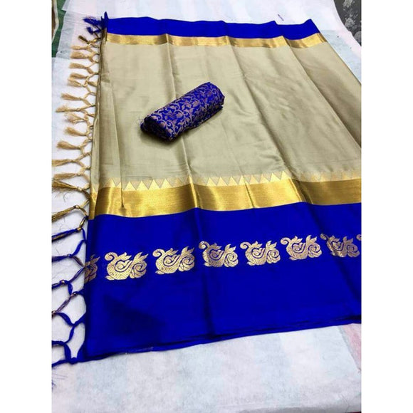 Outstanding Beige And Blue Color Silk Designer Saree