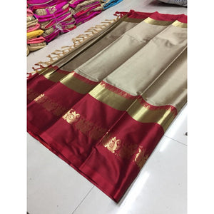 Ultimate Beige And Maroon Color Silk Designer Saree