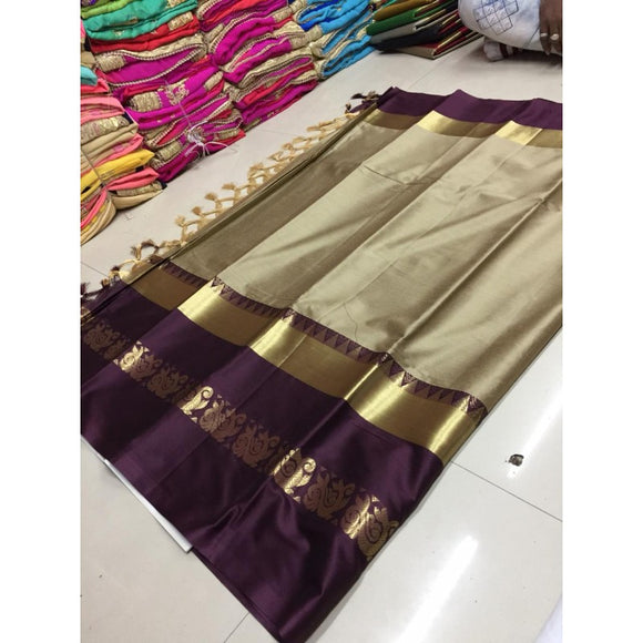 Evergreen Beige And Wine Color Silk Designer Saree