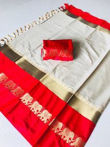 Mind Blowing beige red Color Designer Cotton Silk Saree