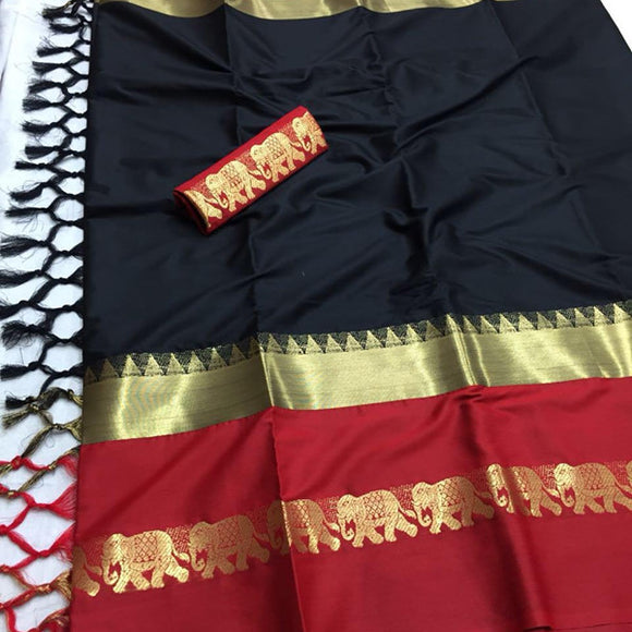 Beauteous Black Color Designer Cotton Silk Saree