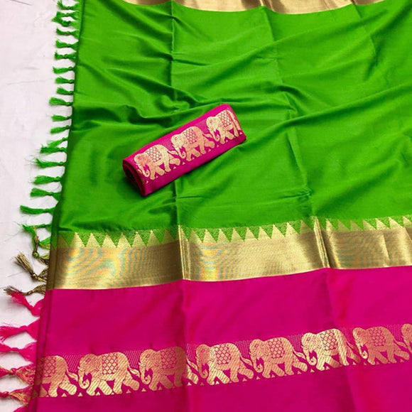Scorching Green Color Designer Cotton Silk Saree