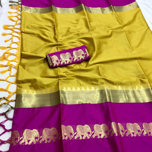 Blissful mustard Color Designer Cotton Silk Saree