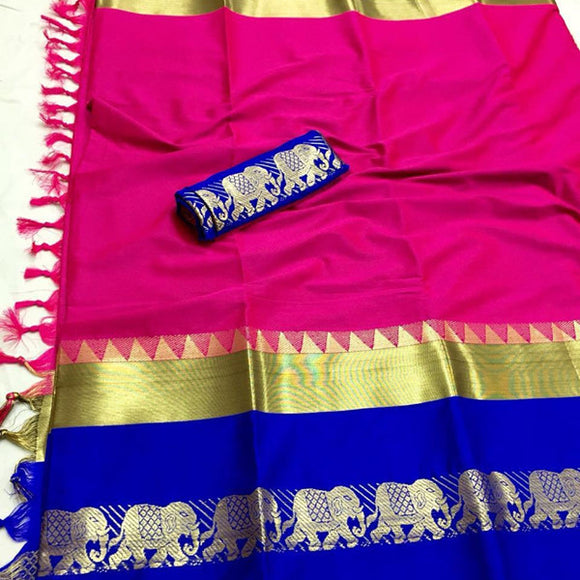 Dazzling pink Color Designer Cotton Silk Saree
