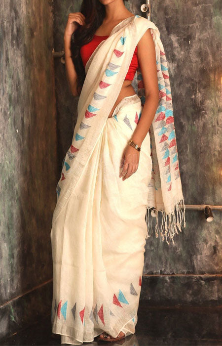 Glitzy Cream Color Linen Designer Digital Print Saree LN8006