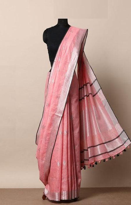 Blissful Pink Color Linen Designer Digital Print Saree LN8036