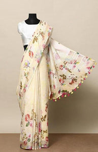 Elegent Cream Color Linen Designer Digital Print Saree LN8039