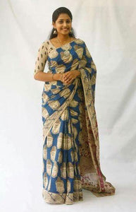 Audacious Blue and Gold Color Linen Designer Digital Print Saree LN8049