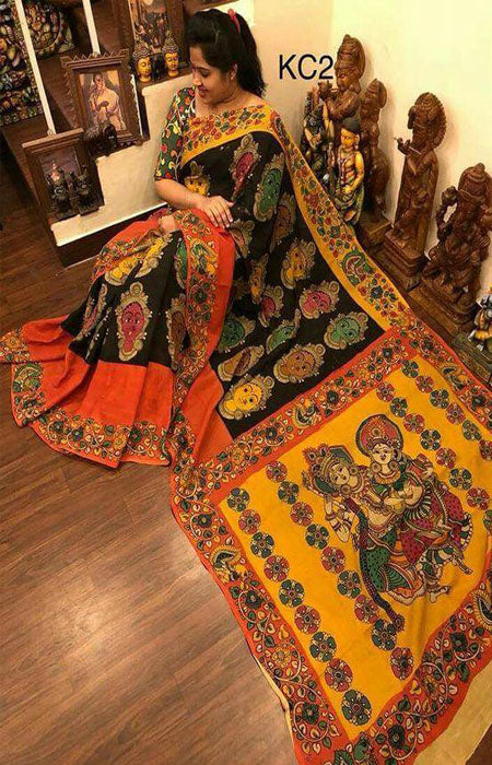 Spectacular Multi Color Linen Designer Digital Print Saree LN8052