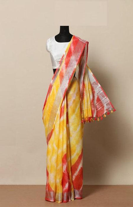 Snazzy Yellow and Red Color Linen Designer Digital Print Saree LN8060