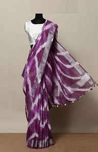Pretty Purple Color Linen Designer Digital Print Saree LN8061