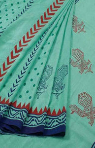 Sensational Blue Color Linen Designer Digital Print Saree LN8300