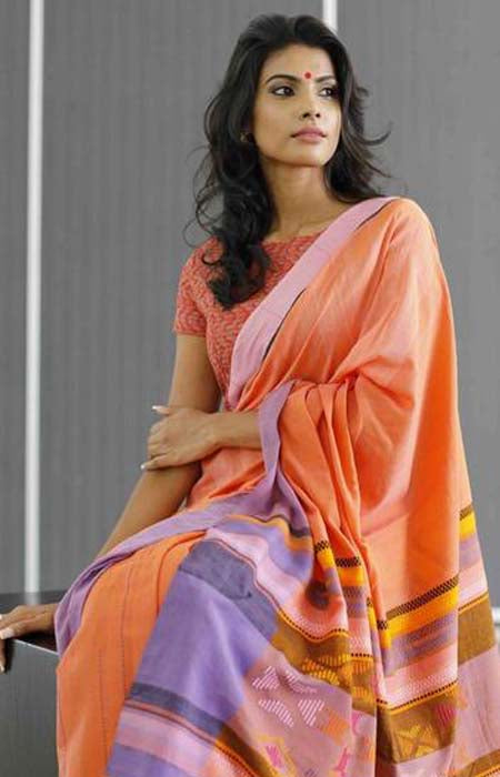 Amazing Orange Color Linen Designer Digital Print Saree LN8301