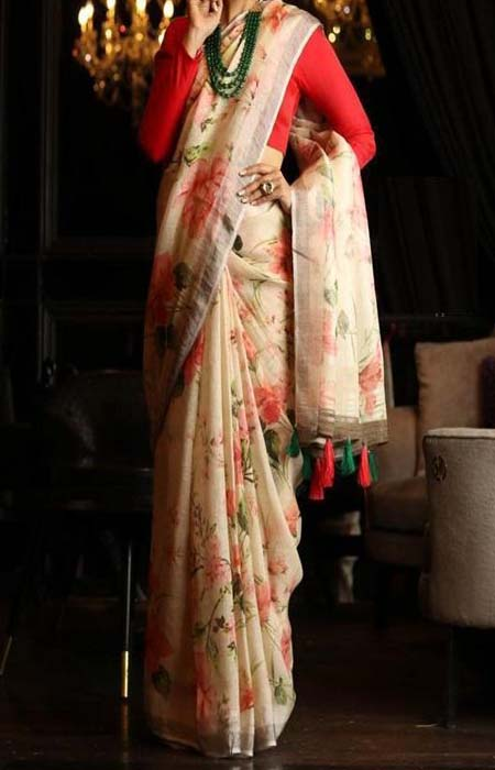Fascinating Red and White Color Linen Designer Digital Print Saree LN8308