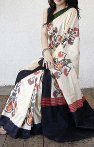 Remarkable White and Black Color Linen Designer Digital Print Saree LN8317
