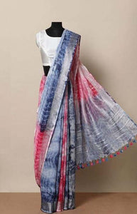 Appealing Pink and Blue Color Linen Designer Digital Print Saree LN8319