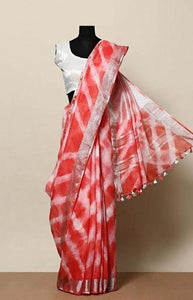 Classy Red Color Linen Designer Digital Print Saree LN8321